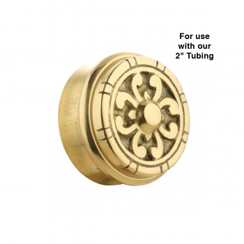 spec-<PRE>Fits 2 inch Polished Solid Brass Fits 2 in. RSF Brass Decorative End P</PRE>