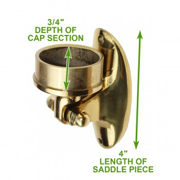 "spec-<PRE>Lacquered Solid Brass Saddle Bracket Plug 2"" OD Bar Rail </PRE>"