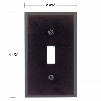 spec-<PRE>Switchplate Black Steel Single Toggle/Dimmer  </PRE>