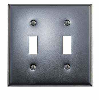 Switchplate Black Steel Double Toggle Classic 19129grid