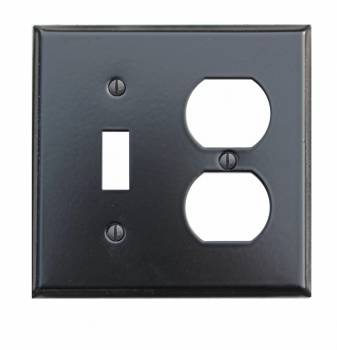 Switchplate Black Steel Toggle Outlet Classic 19130grid