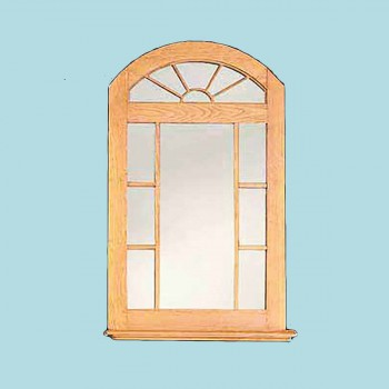 "spec-<PRE>Mirror Unfinished Pine Windowpane Arch Kit 39"" H </PRE>"