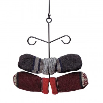 Black Iron Glove Mitten Dryer Rack Holder Wall/Ceiling Hung 6 Rungs