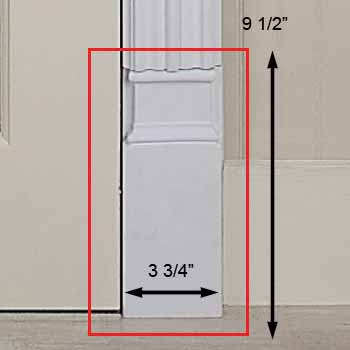 "spec-<PRE>Door Trim White Urethane Plinth 9 1/2"" H </PRE>"