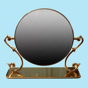 spec-<PRE>Table Mirror Cast Brass Magnifying Make Up 2- Sided Swivel </PRE>