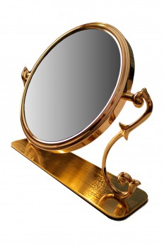 <PRE>Table Mirror Cast Brass Magnifying Make Up 2- Sided Swivel </PRE>