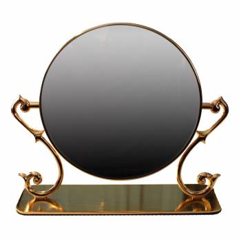 Table Mirror Cast Brass Magnifying Make Up 2 Sided Swivel