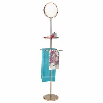Brass Free Standing Mirror with Shelf and Towel Bar Reversible Magnified Mirror 19296grid