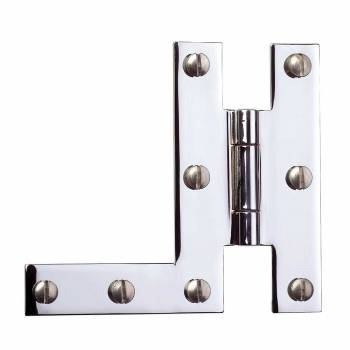 Pair H-L Cabinet Hinge Chrome Plated Solid Brass 19347grid
