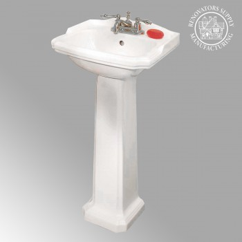 <PRE>Renovators Supply Small Bathroom White Pedestal Sink 4inch Centerset Faucet Holes</PRE>zoom2