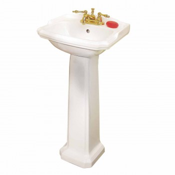 Renovators Supply Small Bathroom White Pedestal Sink 4 Centerset Faucet Holes