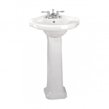 Small Corner Bathroom White Pedestal Sink Vitreous China
