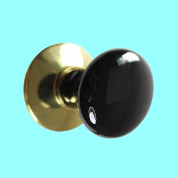 <PRE>Cabinet Knob Black Porcelain Solid Brass Backplate </PRE>zoom2