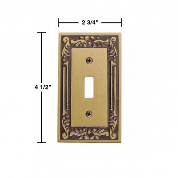 spec-<PRE>Victorian Switch Plate Single Toggle / Dimmer Antique Brass </PRE>