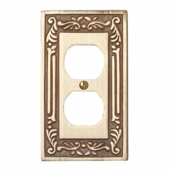 Single Outlet Switch Plate Victorian Antique Brass
