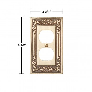 spec-<PRE>Victorian Switch Plate Single Outlet Antique Solid Brass </PRE>