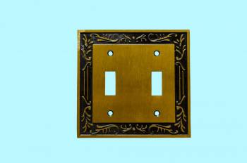 Victorian Switch Plate Double Toggle Antique Solid Brass Switch Plate Wall Plates Switch Plates