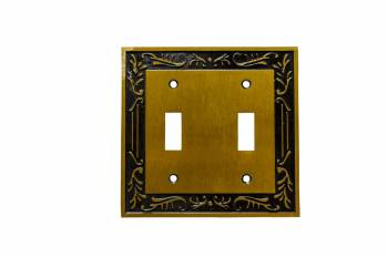 Double Toggle Switch Plate Victorian Antique Brass