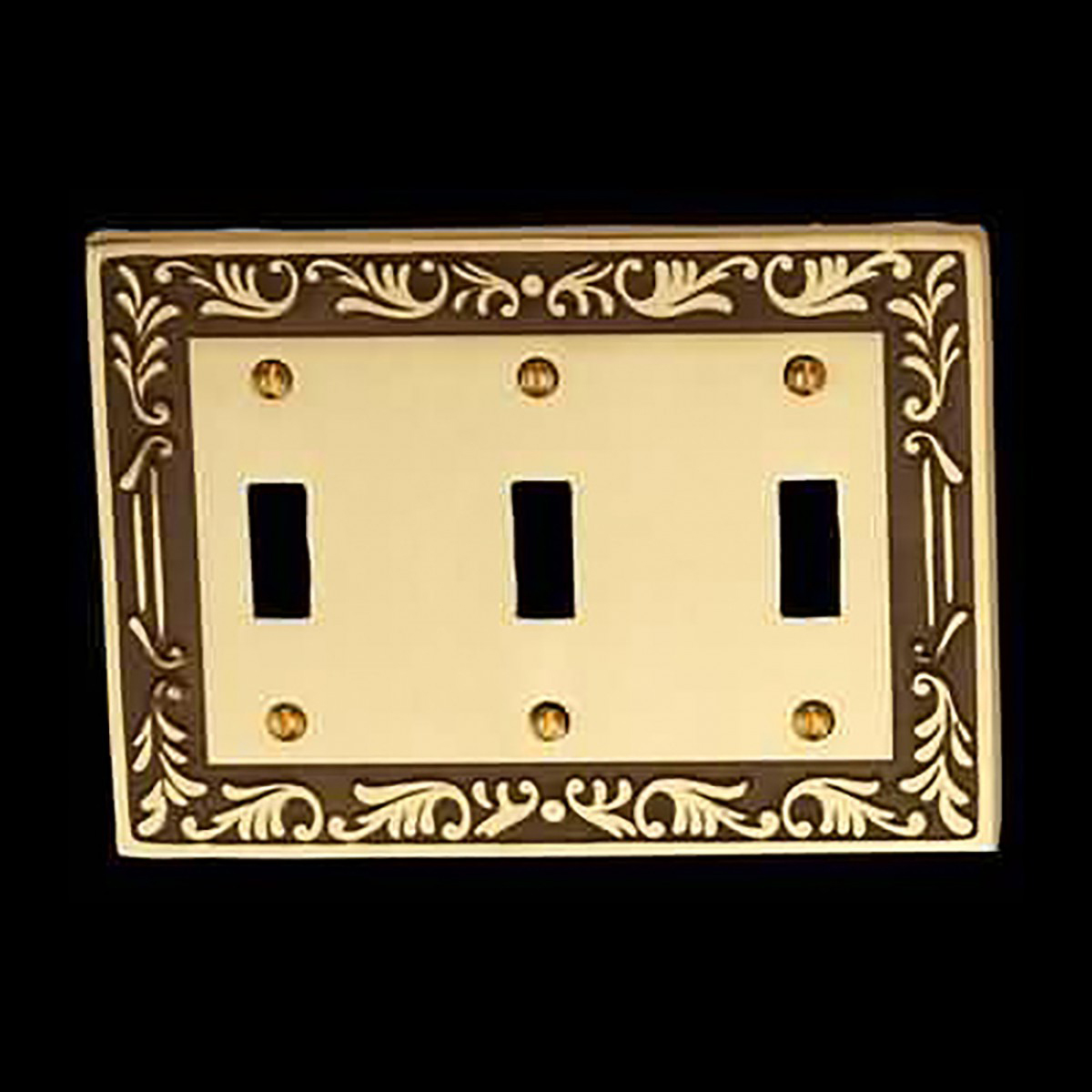 Victorian Switch Plate Triple Toggle Antique Solid Brass Switch Plate Wall Plates Switch Plates