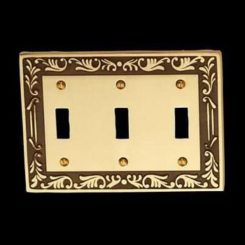 <PRE>Victorian Switch Plate Triple Toggle Antique Solid Brass </PRE>zoom3