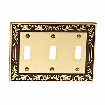 Victorian Switch Plate Triple Toggle Antique Solid Brass 19397grid