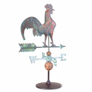 Weathervane Verdigris Copper Rooster on Garden Base 19418grid
