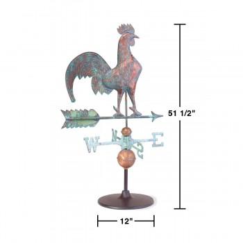 spec-<PRE>Weathervane Verdigris Copper Rooster on Garden Base </PRE>