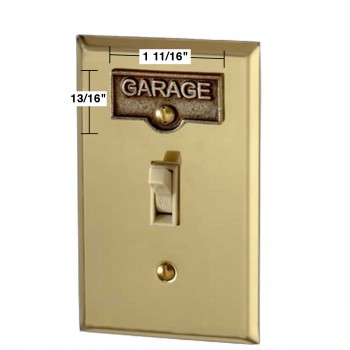 spec-<PRE>Switch Plate Tags GARAGE Name Signs Labels Antique Brass </PRE>