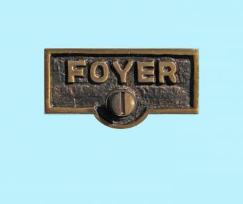 <PRE>Switch Plate Tags FOYER Name Signs Labels Antique Brass </PRE>zoom2