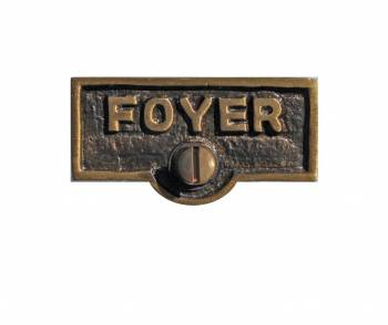 Switch Plate Tags FOYER Name Signs Labels Antique Brass