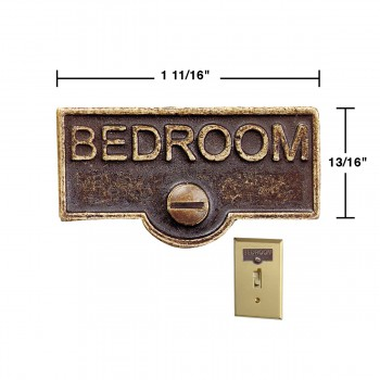 spec-<PRE>Switch Plate Tags BEDROOM Name Signs Labels Antique Brass </PRE>