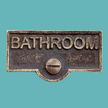 <PRE>Switch Plate Tags BATHROOM Name Signs Labels Antique Brass </PRE>zoom2