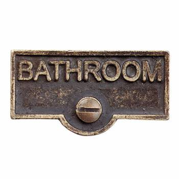 Switch Plate Tags BATHROOM Name Signs Labels Antique Brass 19469grid