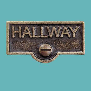 <PRE>Switch Plate Tags HALLWAY Name Signs Labels Antique Brass </PRE>zoom2