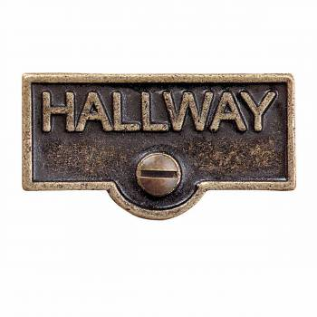 Switch Plate Tags HALLWAY Name Signs Labels Antique Brass 19471grid