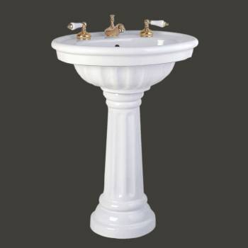 Pedestal Sinks - Philadelphia Sink White Fluted Basin 12 in. widespread takes an 8 in. widespread faucet by the Renovator's Supply