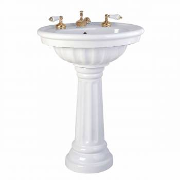 Bathroom Single Pedestal Sink White China Fluted Philadelphia19479grid