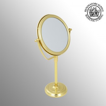 spec-<PRE>Table Makeup Mirror Solid Brass Swivel Magnifying Two Sided </PRE>