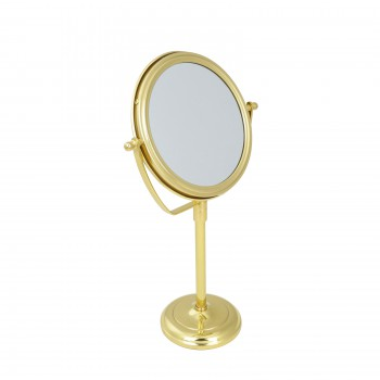 <PRE>Table Makeup Mirror Solid Brass Swivel Magnifying Two Sided </PRE>
