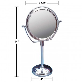 spec-<PRE>Table Makeup Mirror Chrome Brass Swivel Magnifying Two Sided </PRE>