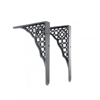 "<PRE>Pair Shelf Bracket Black Aluminum 8 3/4inch X 7"" </PRE>zoom2"