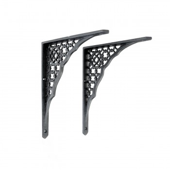 Pair Shelf Bracket Black Aluminum 8 3/4