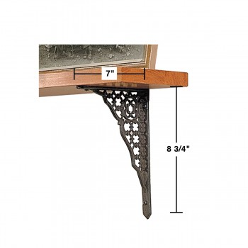 spec-<PRE>Pair Shelf Bracket Black Aluminum 8 3/4&quot; X 7&quot; </PRE>