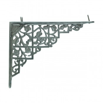 Pair Shelf Brackets Black Aluminum 7 X 8 34 Decorative Shelf Brackets Supports Wrought Iron Traditional Floral Design Shelving