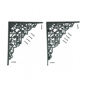 Pair Shelf Brackets Black Aluminum 7