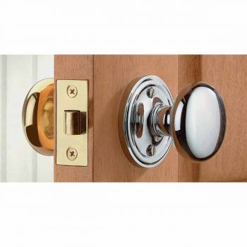 Large Brass/Chrome Solid Brass Door Knob Privacy Set 2 3/4 in. backset19538grid