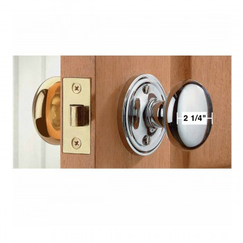 spec-<PRE>Large Brass/Chrome Solid Brass Door Knob Privacy Set 2 3/4 in. backset</PRE>