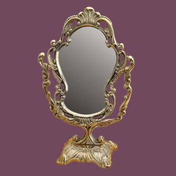 spec-<PRE>Antique Cast Brass Vanity Mirror Table Make Up </PRE>