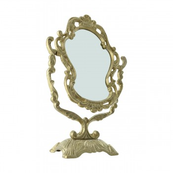 <PRE>Antique Cast Brass Vanity Mirror Table Make Up </PRE>zoom17