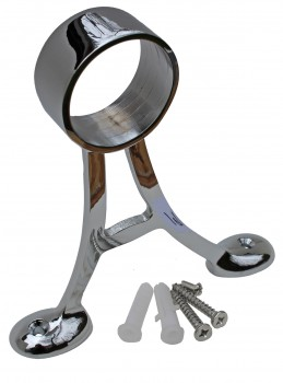 <PRE>Floor Mount Bar Rail Foot Bracket 2&quot; OD Chrome Brass </PRE>